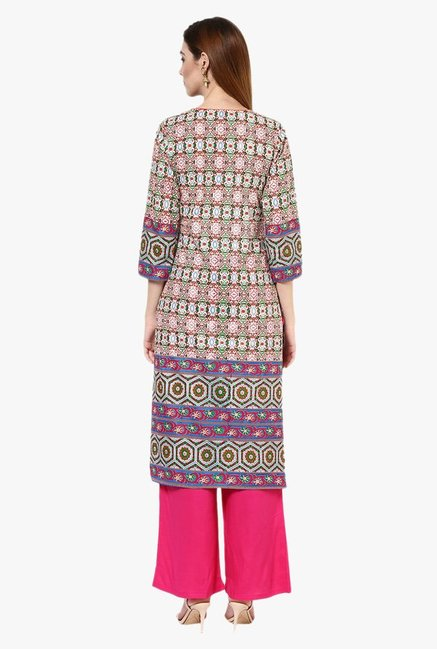 Jaipur Kurti Beige & Pink Printed Cotton Kurta With Palazzo