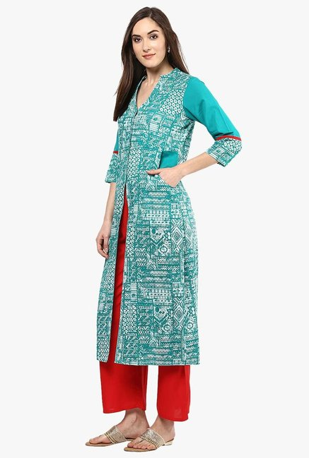 Jaipur Kurti Turquoise & Red Printed Kurta With Palazzo