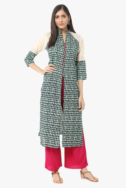 Jaipur Kurti Green & Pink Printed Cotton Kurta With Palazzo