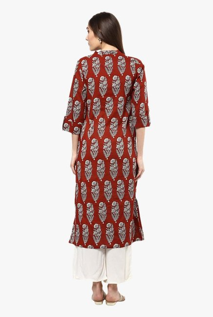 Jaipur Kurti Brown & White Printed Cotton Kurta With Palazzo