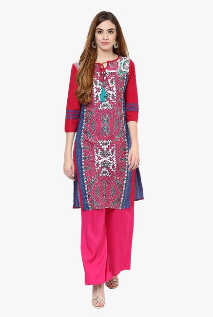 Jaipur Kurti Pink Printed Cotton Kurta With Palazzo