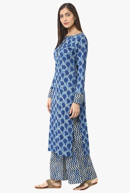 Jaipur Kurti Indigo Printed Cotton Kurta With Palazzo