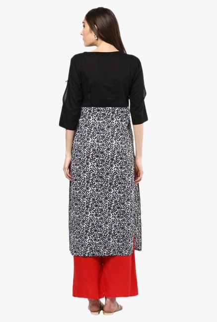Jaipur Kurti Black & Red Printed Cotton Kurta With Palazzo