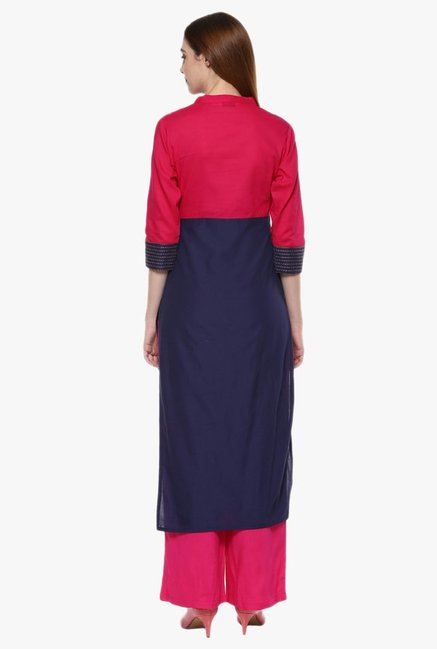 Jaipur Kurti Navy & Pink Printed Cotton Kurta With Palazzo