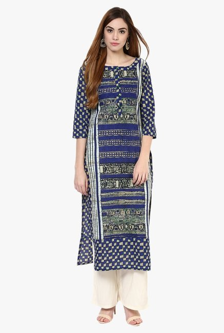 Jaipur Kurti Blue & Off White Cotton Kurta With Palazzo