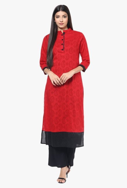 Jaipur Kurti Red & Black Cotton Kurta With Palazzo