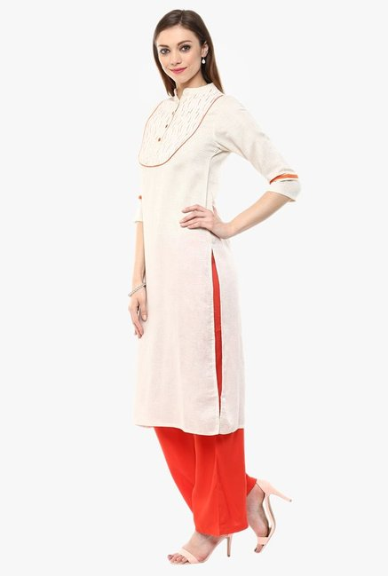 Jaipur Kurti Off White & Orange Cotton Kurta With Palazzo