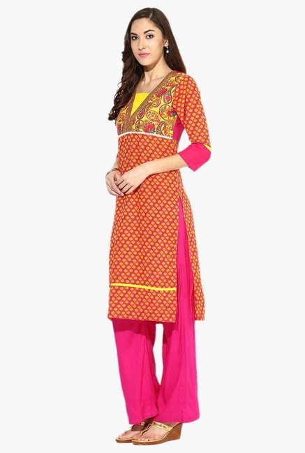 Jaipur Kurti Orange & Pink Printed Cotton Kurta With Palazzo