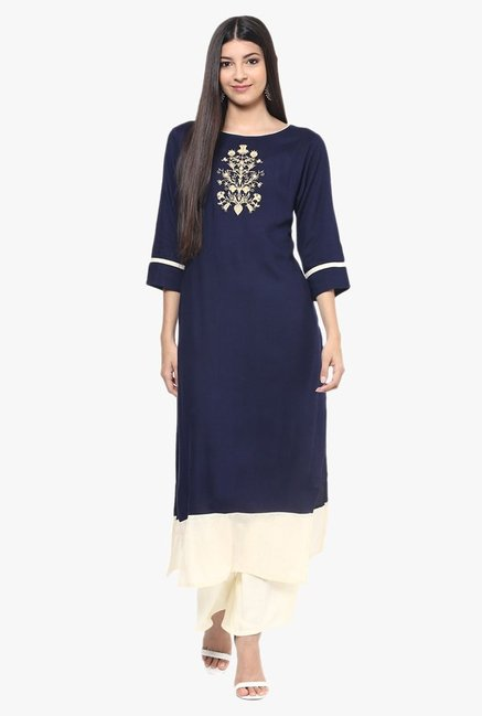 Jaipur Kurti Navy & Off White Rayon Kurta With Palazzo