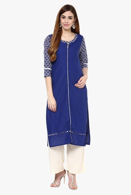 c9e9c9a944d0 Buy Jaipur Kurti Blue & Cream Cotton Kurta With Palazzo for Women Online @  Tata CLiQ