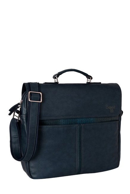 Baggit G Jaunty Tingtong Navy Paneled Laptop Messenger Bag