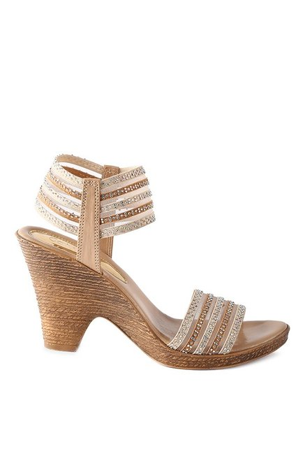 Catwalk Beige Sling Back Wedges