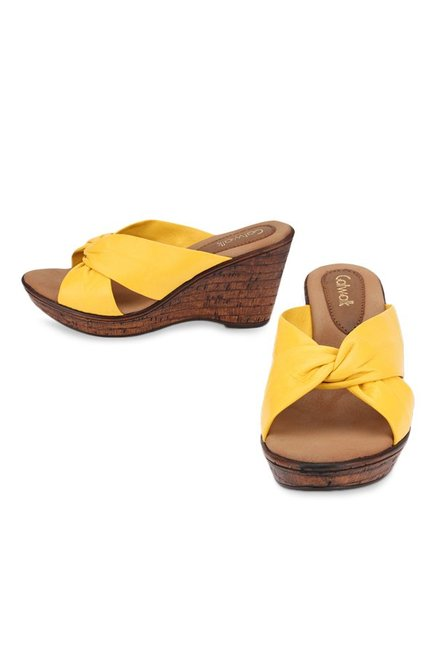 Catwalk Yellow Cross Strap Wedges