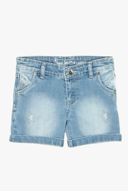 865bdef4b5 Buy Pepe Jeans Blue Distressed Denim Shorts for Girls Clothing ...