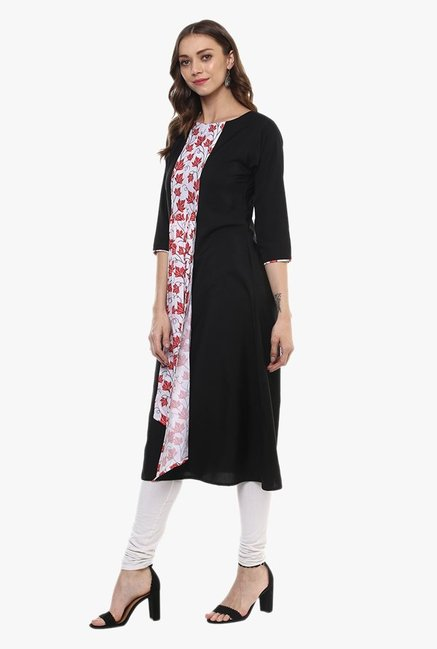 Ziyaa Black & White Printed Kurta
