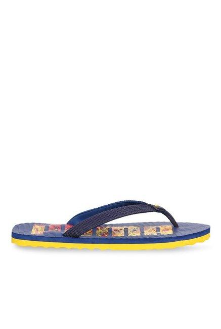 ac55280f531 Buy Puma Miami Fashion DP Navy   Yellow Flip Flops for Men at Best ...