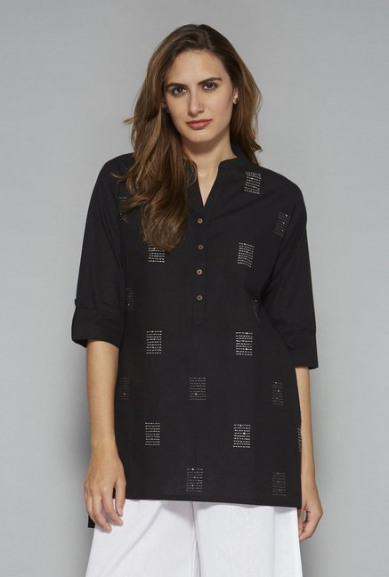 Utsa by Westside Black Pure Cotton Kurti