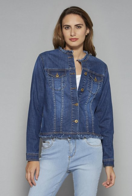 e2b981985243 Buy LOV by Westside Blue Denim Jacket for Women Online @ Tata CLiQ