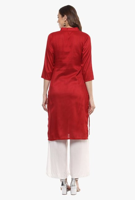Ziyaa Red Printed Kurta