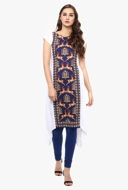 Ziyaa Purple & White Printed Kurta