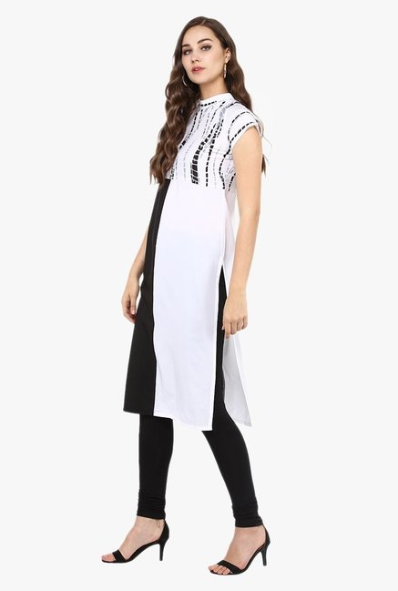 Ziyaa White & Black Printed Kurta