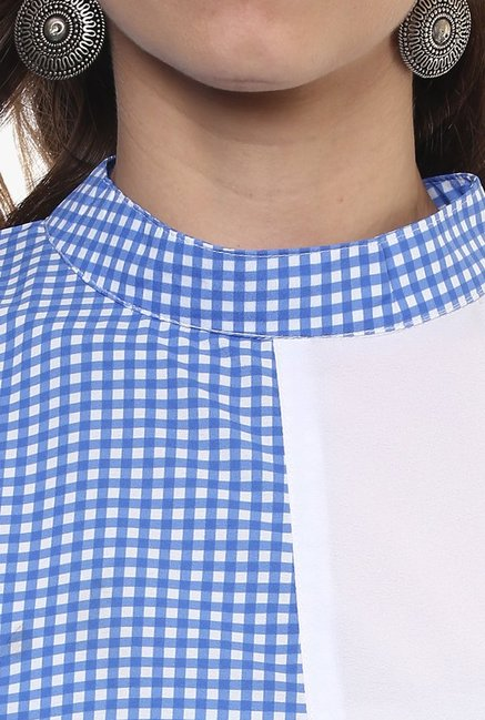Ziyaa Blue & White Checks Kurta