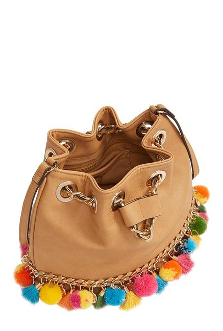 9eb68a05e39 Buy Aldo Ballot Tan Pom-pom Bucket Sling Bag For Women At Best Price ...