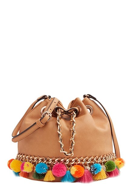 3fcfec11881 Buy Aldo Ballot Tan Pom-pom Bucket Sling Bag For Women At Best Price   Tata  CLiQ