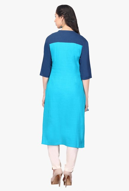 Aurelia Blue Embroidered Cotton Kurta