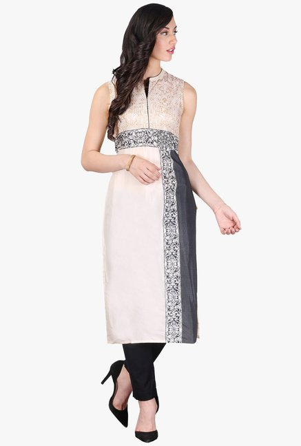 Aurelia Cream Printed Cotton Kurta