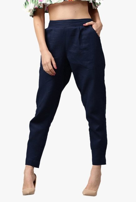 Jaipur Kurti Navy Regular Fit Cotton Pleated Pants