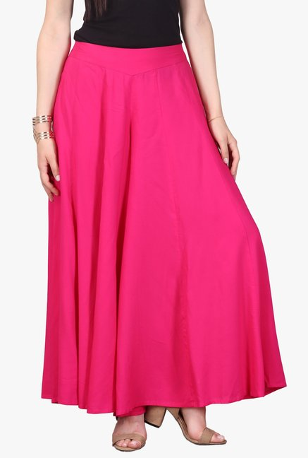 Aurelia Pink Viscose Regular Fit Palazzo