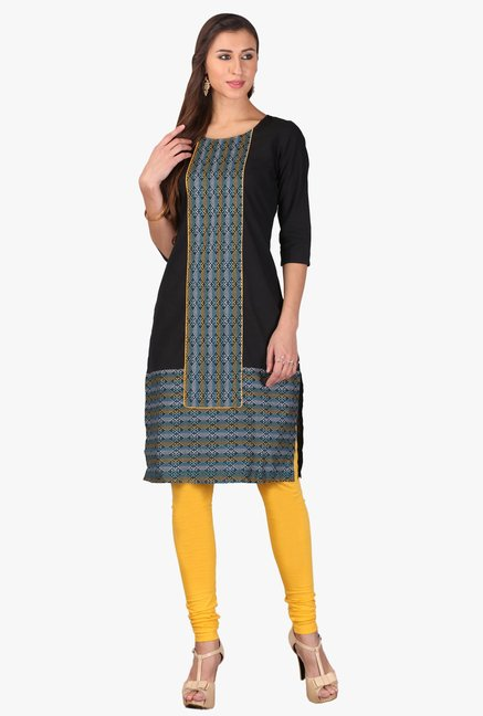 Aurelia Black Printed Cotton Kurta