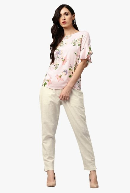 Jaipur Kurti Cream Regular Fit Cotton Pleated Pants