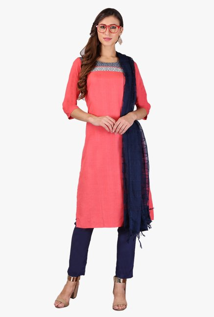 Aurelia Coral Regular Fit Cotton Kurta