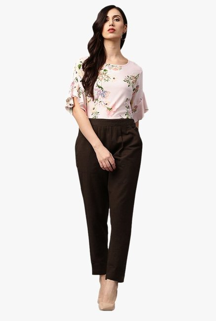 Jaipur Kurti Brown Regular Fit Cotton Pleated Pants