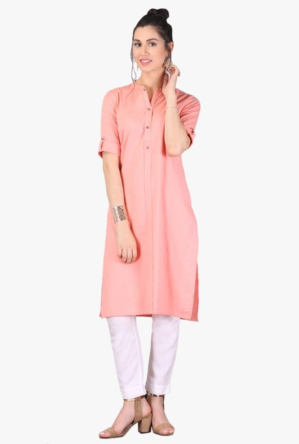 Aurelia Peach Regular Fit Cotton Kurta