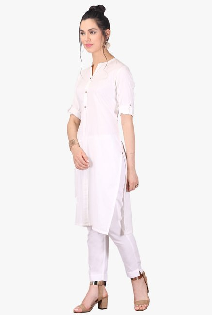 Aurelia White Regular Fit Cotton Kurta