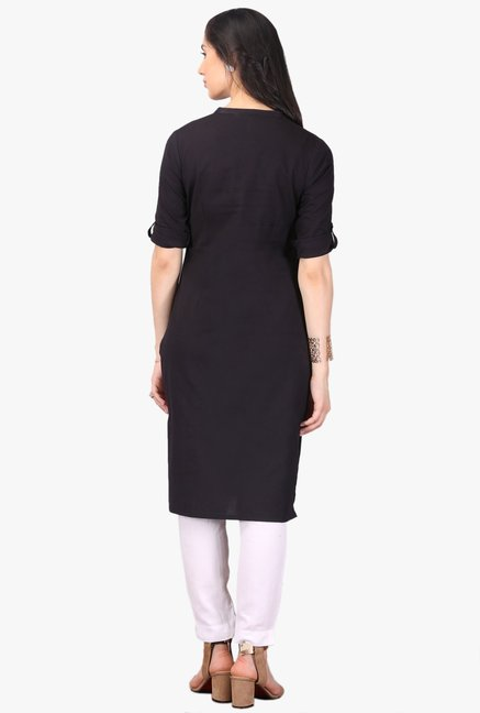 Aurelia Black Regular Fit Cotton Kurta