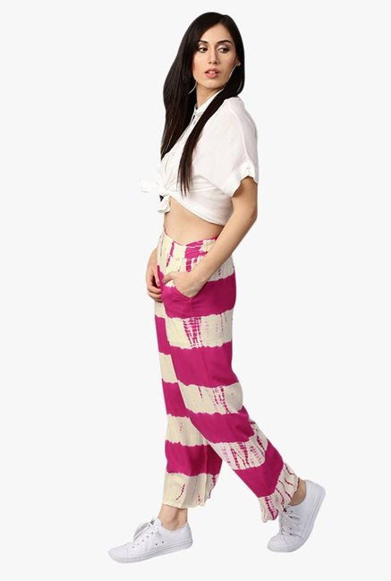 Jaipur Kurti Pink & White Regular Fit Rayon Palazzo