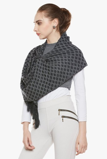 Cayman Grey Printed Acrylic Wool Reversible Stole