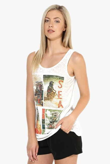 Only White Printed Tank Top