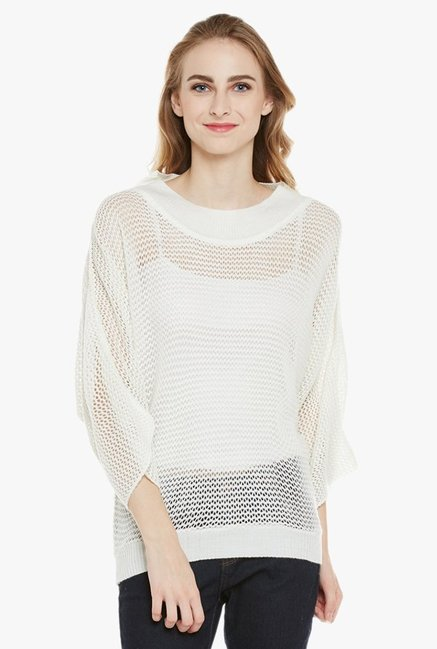 679a65ff1640 Buy Cayman Off White Crochet Acrylic Wool Poncho Sweater for Women Online    Tata CLiQ