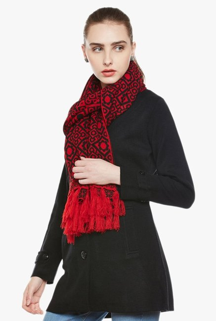 Cayman Red & Black Printed Acrylic Wool Reversible Stole