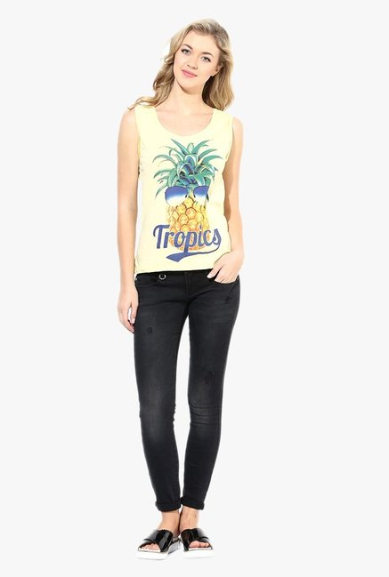 Vero Moda Yellow Printed Top
