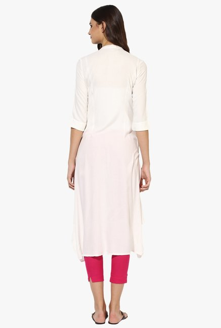 Juniper Off White Regular Fit Rayon A-Line Kurta