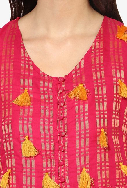 Juniper Pink Printed Cotton Polyester Kurta
