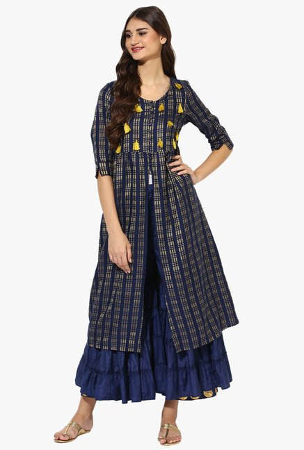 Juniper Navy Printed Cotton Polyester Kurta