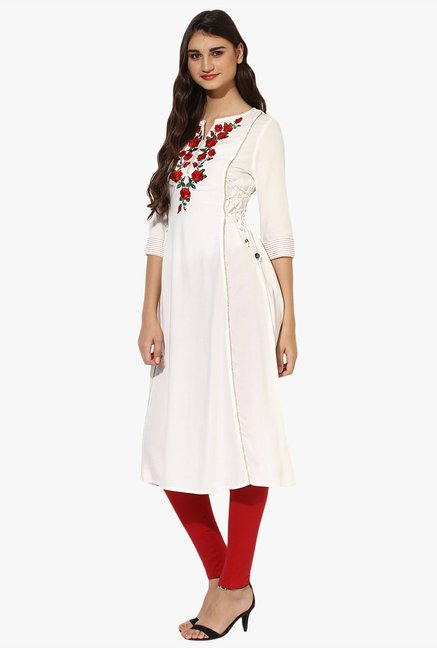 Juniper Off White Embroidered Rayon Kurta With Tassels