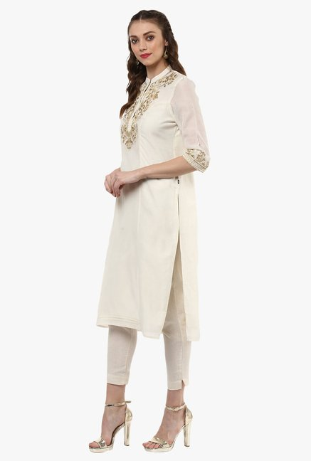 Juniper Off White Chanderi Embroidered Cotton Silk Kurta